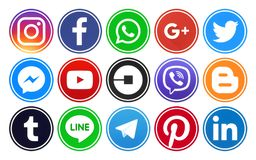 Popular circle social media icons with rim Stock Photos