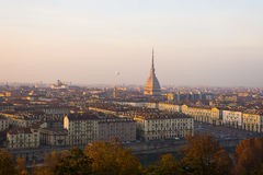Popular city view of Turin (Torino) from above at sunset Stock Image