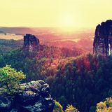 Popular climbers resort in Saxony park, Germany. Sharp sandstone cliffs above deep valley. Royalty Free Stock Photography