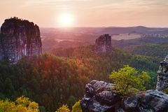 Popular climbers resort in Saxony park, Germany. Sharp sandstone cliffs above deep valley. Royalty Free Stock Photo