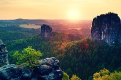Popular climbers resort in Saxony park, Germany. Sharp sandstone cliffs above deep valley. Stock Image
