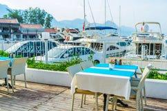 The summer terrace of coastal cafe, Kemer, Turkey stock images