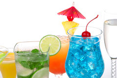 Popular cocktails drinks with alcohol. Popular cocktails with alcohol. Many different type of cocktail drinks. Blue hawaiian, Mojito; Mai tai, Martini, champagne royalty free stock photo