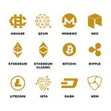 Popular cryptocurrency bitcoin blockchain vector symbols. Virtual money bitcoin and cryptocurrency, ethereum and litecoin illustration vector illustration