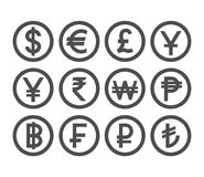 Popular Currency Coin Collection. Countries Currencies Coins Icon Set. Royalty Free Stock Image