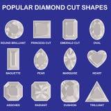 Popular diamond cut shapes. Round brilliant, baguette, asscher, princess cut, pear, radiant, emerald cut, marquise cushion oval heart trilliant Stock Images
