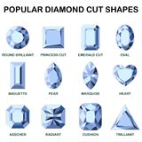 Popular diamond cut shapes. Round brilliant, baguette, asscher, princess cut, pear, radiant, emerald cut, marquise cushion oval heart trilliant Royalty Free Stock Photography