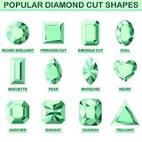 Popular diamond cut shapes. Round brilliant, baguette, asscher, princess cut, pear, radiant, emerald cut, marquise cushion oval heart trilliant Stock Photos