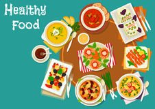 Popular dinner dishes icon for healthy food design. Grilled shrimp and chicken icon served with cheese snack with salmon, vegetable salad with olives, pea soup Stock Images