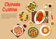 Popular dishes of chinese cuisine icon, flat style Royalty Free Stock Photos
