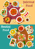 Popular dishes for dinner icon set for food design Stock Photo