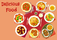 Popular dishes for lunch menu icon for food design Royalty Free Stock Photography