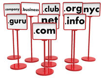 Popular Domain Names, Internet Concept. Nameplates with Popular Domain Names, Internet Concept stock image