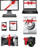 Popular electronic devices packed as presents Royalty Free Stock Photo