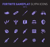 Popular epic game glyph icons. Vector illustration of military facilities. Airship, drift board, grenade, buggy, and. Weapons. Solid flat design. Set 2 of vector illustration