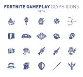 Popular epic game glyph icons. Vector illustration of military facilities. Blast Powder, air balloon, rockets, and other. Weapons. Solid flat design. Set 4 of royalty free illustration