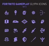 Popular epic game glyph icons. Vector illustration of military facilities. Grenade, machine gun, rifle, and other. Weapons. Solid flat design. Set 4 of violet royalty free illustration