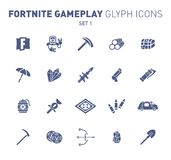 Popular epic game glyph icons. Vector illustration of military facilities. Robot, pickaxe, crystal, and weapons. Solid. Flat design. Set 1 of blue icons stock illustration