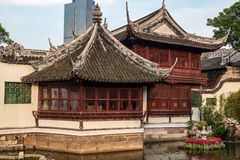 Popular famous tourist place of Yuyuan garden old Shanghai royalty free stock photo