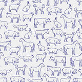 Popular farm animals seamless pattern Stock Photography