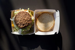 Popular fastfood: soft hamburger with fresh meat Stock Images