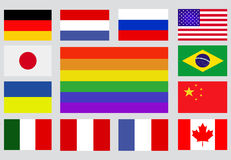 Popular  flags on a silver background Stock Images