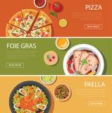Popular food web banner flat design, pizza, foie gras, paella Stock Photos