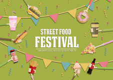Popular food web banner set, flat design. Festival poster. Popular food web banner, flat design. Donuts, ice cream, burger, fries, hot dog, pizza in hands, flyer Royalty Free Stock Photo