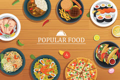 Popular food on a wooden background. Royalty Free Stock Photo