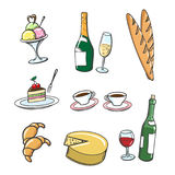 Popular french food and drinks Stock Image