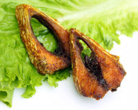 Popular fried hilsa or Ilish fish Stock Photos