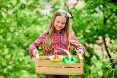 Popular garden care. Inspect garden daily spot insect trouble early. Gardening classes. Ecology education. Little girl stock images