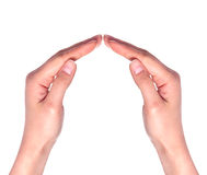 Popular gesture on a white background close up. Isolated on a white background royalty free stock photos