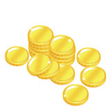 Popular gold coin penny stack isolated background Royalty Free Stock Photography