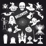 Popular halloween elements set on chalkboard stock illustration