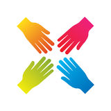 Popular hand connecting teamwork icon concept isolated vector Royalty Free Stock Images