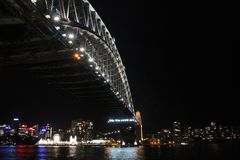 Harbour Bridge Sydney by Night  New South Wales, Australia. The popular Harbour Bridge by night Royalty Free Stock Images