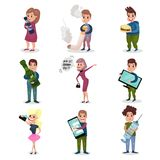 Popular harmful habits and addictions of modern society set concept cartoon vector Illustrations. On a white background Royalty Free Stock Photography