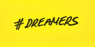 Popular hashtag dreamers written on a paper. Popular hashtag dreamers written on a yellow paper Stock Image