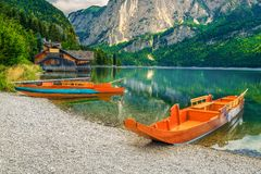 Popular holiday and recreational place with boats, Altaussee lake, Austria royalty free stock photos
