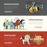 Popular Horses Breeds Horizontal Banners Set Stock Photos