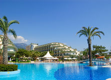 Popular hotel on mediterranean sea coast, Antalya, Royalty Free Stock Image