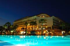 Popular hotel in night illumination Stock Photos
