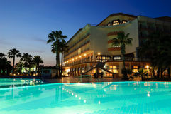 Popular hotel in night illumination. Antalya, Turkey Royalty Free Stock Photo