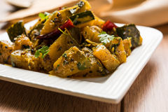 Popular indian main course vegetable Pumpkin dry curry or kaddooor kaddu ki sabzi in hindi, lal bhopla chi bhaji in marathi, selec Royalty Free Stock Photography