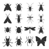 Popular insects silhouette icons isolated Stock Image