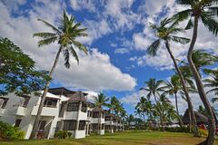 A popular island resort full of coconut trees in tropical Nadi, Fiji which is empty due to the covid19 pandemic