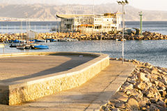Popular Israeli resort Eilat. Quay. Sunset. Stock Photography