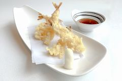 Popular Japanese food TEMPURA that consisting of shrimps. stock photography