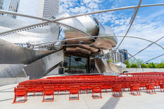 The popular Jay Pritzker Pavilion in Millennium Park in downtown Chicago. Chicago, IL USA - MAY 19, 2008: The popular Jay Pritzker Pavilion in Millennium Park Royalty Free Stock Image